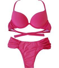 biquíni bojo bolha alça estreita divance calcinha lateral dupla franzida pink escuro
