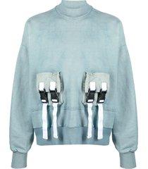 val kristopher raw sweatshirt with buckle-fastening pocket - blue