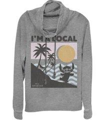 fifth sun women's disney lilo stitch beach scene fleece cowl neck sweatshirt