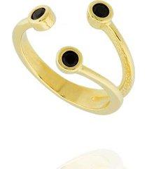 anel dona diva semi joias três zircônias feminino