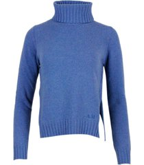 anna molinari turtleneck sweater in wool blend with side slits and with different lengths