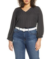 plus size women's halogen v-neck blouse, size 3x - black