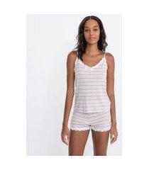 pijama short doll com blusa de alcinha e short em viscolycra listrada   lov   cinza   m
