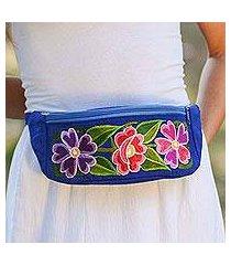 cotton waist bag, 'garden on the go' (mexico)