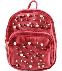 mochila terciopelo perlas rojo mailea