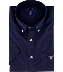 gant donkerblauw korte mouw overhemd regular fit