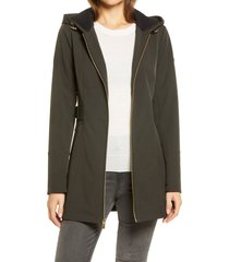 women's via spiga half-belt hooded soft-shell jacket, size medium - black