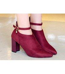 pb158 elegant strappy ankle booties w zipper back,  size 4-9, burgundy