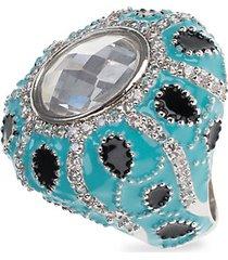 turban rhodium-plated & crystal ring