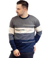 blusa de malha masculina com listras sumaré 10387