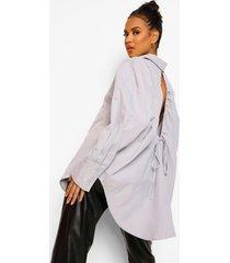 oversized blouse met open rug, grey