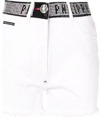 philipp plein stud-detail denim shorts - white