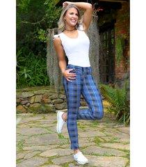pantalón escoces outfit 1086 para mujer azul