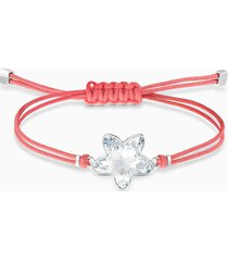 braccialetto swarovski power collection flower, rosso, acciaio inossidabile