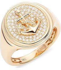 effy 14k yellow gold & diamond signet ring - size 10
