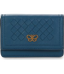 bottega veneta women's butterfly intrecciato leather card holder - blue