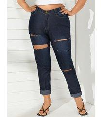 tallas grandes bolsillos laterales detalles rotos al azar jeans