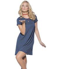 vestido corto azul rayas atypical