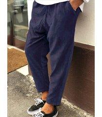 cintura elástica de los hombres cordón informal cordón a rayas con textura pantalones