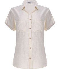 camisa mujer bordada beige color beige, talla 14