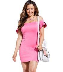 vestido off shoulder charmaine dress rosado guess
