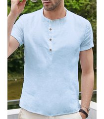 incerun hombres verano algodón lino transpirable retro camisa cáñamo placa botón camisa