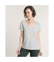 blusa feminina listrada manga curta decote v cinza claro