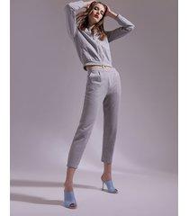 motivi pantaloni carrot in felpa lurex donna grigio