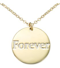 "italian gold forever cutout disc 18"" pendant necklace in 10k gold"