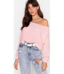 womens something's off-the-shoulder knitted sweater - pink