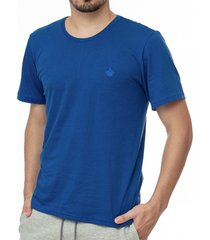 camiseta masculina bã¡sica azul escuro com bordado area verde - 100% algodã£o - multicolorido - masculino - dafiti