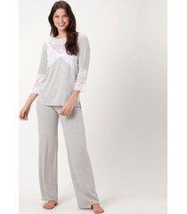 pijama joge longo cinza - cinza - feminino - dafiti