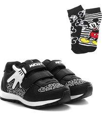 kit tênis infantil disney mickey mão jogging + 2 meias masculino - masculino