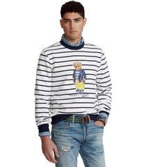 polo ralph lauren men's striped polo bear fleece sweatshirt
