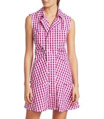 derek lam 10 crosby women's satina gingham shirt dress - pink - size 16
