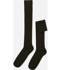calzedonia men's ribbed wool and cashmere long socks man green size 44-45