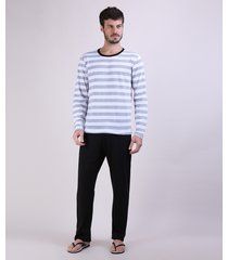pijama masculino camiseta estampada listrada manga longa gola careca cinza mescla