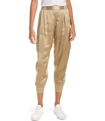 women's atm anthony thomas melillo silk satin cargo pants, size medium - green