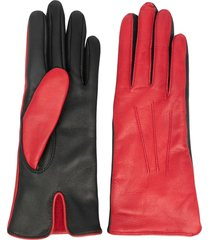 dents contract two-tone leather gloves - red