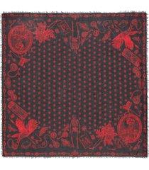 alexander mcqueen skull-print frayed scarf - black