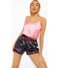 mix & match satijnen sterrenprint pyjama shorts, black