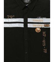 overhemd men plus zwart::cognac