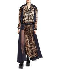 leopard satin & chiffon pleated dress