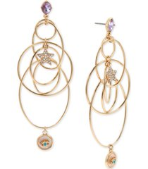 bcbgeneration gold-tone crystal star & evil eye orbital statement earrings