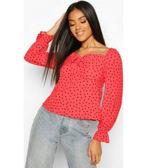 heart print blouse, red