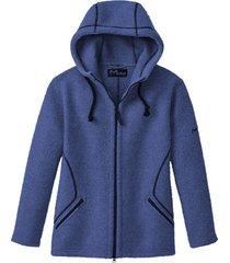 sportieve walkjas met capuchon van zuiver scheerwol, kobaltblauw s