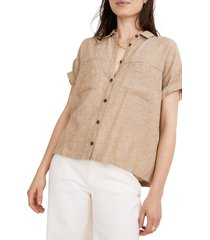 women's madewell portside linen blend shirt, size xx-small - beige