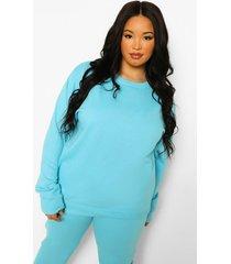 plus basic oversized sweater, turquoise