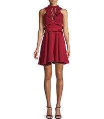 lace & ruffle mockneck mini dress