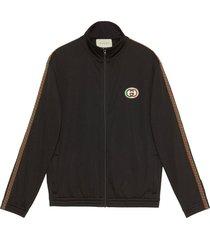 gucci oversized mesh logo jacket - black